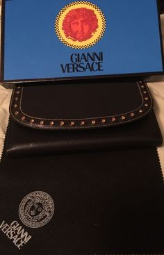 NWT Boxed Genuine Versace Women's Italian Black Leather Crystal Studded Wallet #Versace #TrifoldOrganizerClutch