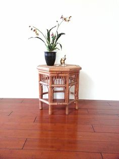 Bamboo / Rattan Side Table ~ Octagon Accent Table ~ Plant Stand ~ Mid Century…