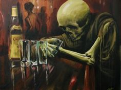 Oil Painting of Skeleton Drinking at the bar.