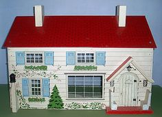 My Vintage Dollhouses: My Rich Toys houses Antique Dollhouse, Dollhouse Toys, Dollhouse Furniture, Dollhouse Ideas, Doll Furniture, Tin House, House Roof, Blue Shutters, Red Roof