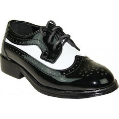 11494a5804b4 Boy s Formal Two-Tone Wing Tip Black and White Tuxedo Shoes for Baby  Toddler Children
