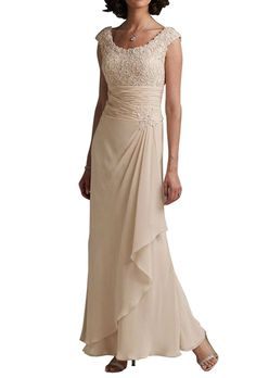 LOVEBEAUTY Round Collar Sleeveless Chiffon Flower Long Mother of the Bride Dresses Champagne 8