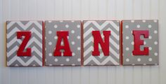 Nursery Letters, Upholstered Letters, Nursery Decor, Personalized, Nursery Art, Gray and White Chevron and Polka Dots, Red Letters
