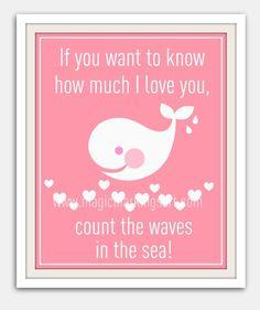 Baby girl nursery decor- children's wall art- pink whale print 8x10- beach, pink, whale, hearts. $16.00, via Etsy.