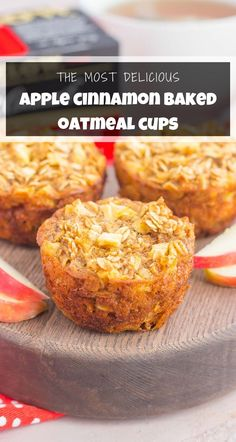 These Apple Cinnamon Baked Oatmeal Cups arethe perfect, on-go-the breakfast to enjoy any day of the week. Fresh apples, a sprinkling of cinnamon, and hearty oats make a deliciously cozy dish to enjoythroughout the season! #oatmeal #bakedoatmeal #oatmealcups #oatmealmuffins #applecinnamon #appleoatmeal #appleoatmealmuffins #applecinnamonbakedoatmealcups #bakedappleoatmeal #breakfast Apple Oatmeal Muffins, Baked Oatmeal Cups, Oat Pancakes, Oat Muffins, Healthy Eating Recipes, Clean Eating Snacks, Healthy Food, Healthy Breakfast Muffins, Breakfast Recipes