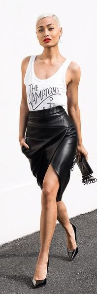 Black Leather Wrap Pencil Midi Skirt