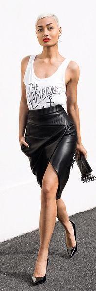 Black Leather Wrap Pencil Midi Skirt