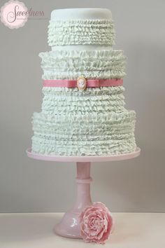 Pretty Pastel Frilled Tiered Cake