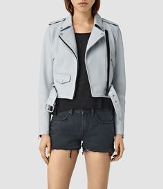 Womens Baron Leather Biker Jacket (Sky Blue) - product_image_alt_text_1