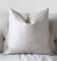 Designer Metallic Pillow Cover - Silver Neutral Pillow - Graphic Pillow Cover - Ivory Grey Pillow Cover by MotifPillows on Etsy https://www.etsy.com/listing/191475547/designer-metallic-pillow-cover-silver