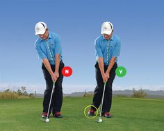 HEELS UP! To feel the right posture on chips, practice with your back heel raised off the ground.