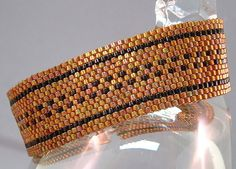 Beadwoven Bracelet of Copper and Black Delica Beads by mostlybeads, $48.00