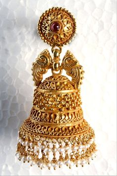 Gold Jhumkis in a traditional South Indian temple design