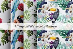 Tropical Watercolor Pattern - Textures - 1