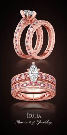 Jeulia Rose Gold Marquise Cut Created White Sapphire Wedding Set #Jeulia