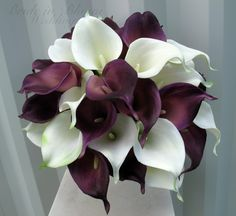 plum lilies and white hydrangea bouquets   Calla lily Wedding bouquet, plum white real touch wedding flowers ...
