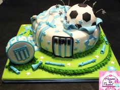 Torta Racing Club Argentina Racing Club Argentina, Nerf Party, 4th Birthday, Fathers Day, Moana, Baking, Emoticon, Iris, Desserts