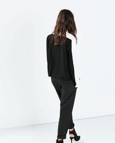 批发采购女式衬衫-F10118欧美风拼接黑白撞色V领长袖衬衣衬衫 雪纺衫上衣48...