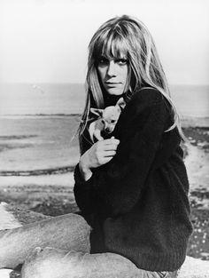Francoise Dorleac on the set of Cul de Sac, 1966.
