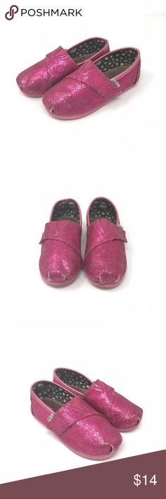 Toms pink sparkly shoes •Toms pink sparkly Velcro shoes  •VGUC/GUC - only flaw is at the crease of the toes  •Size 9  •I am a: Posh Ambassador, top 10% seller, top rated seller, Posh mentor & ship same day/next day!  ⭐️❤️FREE Matching hair accessory with purchase!❤️⭐️ •Smoke & pet free home •Browse my closet for dozen of amazing designers such as.. tucker + Tate, Tea Collection, Mini Boden, UGG, GAP, Juicy Couture, Lululemon & many more! Toms Shoes