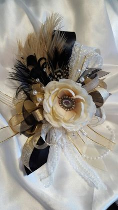 Great gatsby prom corsage from Hen House Designs www.henhousedesigns.net