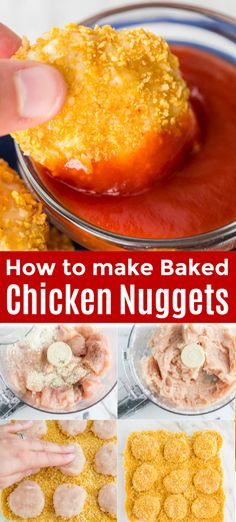 How to make the best chicken nuggets! Our kids love this chicken nugget recipe. They are crisp and golden on the outside and juicy on the inside. You'll love these baked nuggets as a main course or an appetizer. A recipe. Chicken Nugget Recipes Baked, Kids Chicken Nuggets, Healthy Chicken Nuggets, Homemade Chicken Nuggets, Chicken Recipes For Kids, How To Cook Chicken, Baby Food Recipes, Baking Recipes, Cleaning Recipes