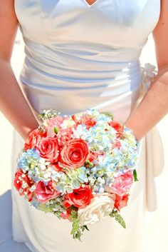 bouquet closeup for #wedding #flowers, coral & turquoise-ish colors