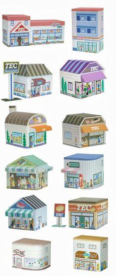 CASITA DE PAPEL: dollhouse paper: Ciudad, casas, city by toshibatec
