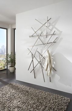 Wardrobe wall wardrobe FRESH 3 oak and white steel from Spinder Wall coat rack MATCHES large stainless steel from Spinder Design Tile Design, House Design, Living Room Tiles Design, Wardrobe Wall, Clutter Free Home, Support Mural, Living Room With Fireplace, Minimalist Home, Homemade Home Decor