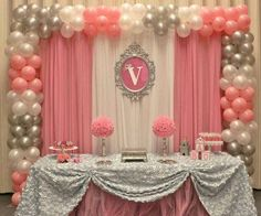 Silver white and pink back drop