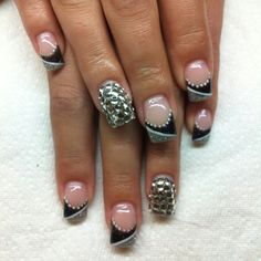 Gel nails with hand drawn design and some bling! By Melissa Fox