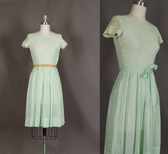 vintage 1950s dress 50s dress full skirt eyelet lace cotton designer betty barclay day dress. $86.00, via Etsy.