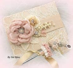 Wedding Guestbook and Pen Set Vintage Inspired in by SolBijou, $130.00