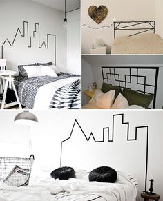 Bed head pieces that you can do yourself with tape - Tidy House Source by alliZza