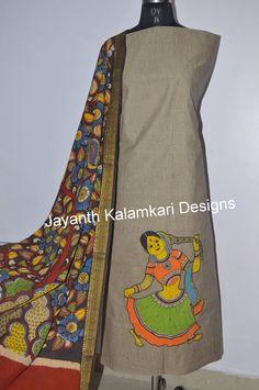 Kalamkari Dress (Unstitched) Top: Mangalagiri cotton with pen kalamkari patch work 2.5 mt Dupatta: Mangalagiri cotton pen kalamkari dupatta 2.5 mt