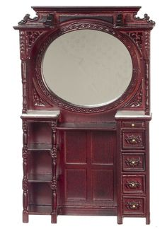 Victorian Barber Cabinet w/Mirror in Mahogany by Town Square Miniatures