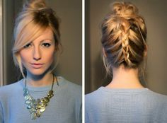 Braided Updo with side swept bangs