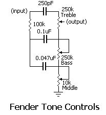 Fender Tone Circuit - Electronics for Musicians - Hobby Electronics, Electronics Projects, Electronics Components, Radios, Wireless Battery Charger, Diy Guitar Pedal, Bass, Electric Circuit, Electronic Schematics