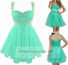 Green Cute Beaded Ruched Short Prom Dress With Straps