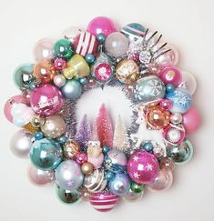 Ornament Wreath Vintage Winter Wonderland  Pastels and Pink