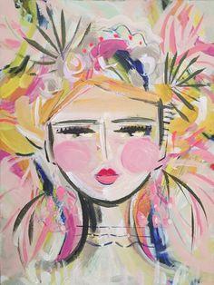 "Abstract Portrait PRINT, paper or canvas, Warrior Girl, woman portrait, Warrior Girl ""Palmetto"" Abstract Portrait, Portrait Art, Easy Paintings, Animal Paintings, Warrior Girl, Painting Of Girl, Art Sketchbook, Art Girl, Original Art"