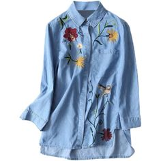 Floral Embroidered High Low Denim Shirt (€14) ❤ liked on Polyvore featuring tops, blouses, denim shirt, blue shirt, shirt top, light blue blouse and blue denim blouse