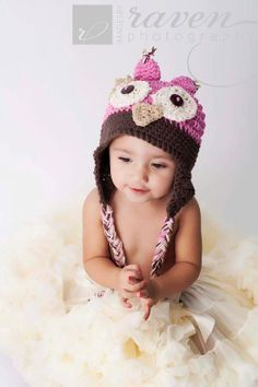 Cute girl colors for owl hat (using the free owl hat crochet pattern)