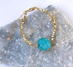 Bright Aqua Quartz Druzy and Gold Vermeil Bracelet-druze-druse-Summer Color! by Pauletta on Etsy https://www.etsy.com/listing/235050358/bright-aqua-quartz-druzy-and-gold