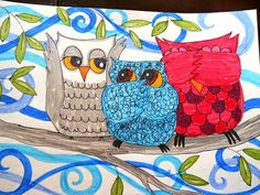 Hear Speak and See No Evil Owls by OpenHeartGallery on Etsy, $12.00