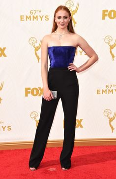 #SophieTurner wearing #GalvanLondon to 67th Emmy Awards