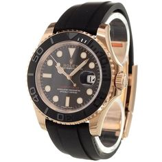 Rolex 'Yacht-Master' analog watch (36,523,260 KRW) ❤ liked on Polyvore featuring jewelry, watches, gold, unisex jewelry, bezel jewelry, rubber strap watches, bezel watches and rolex wrist watch