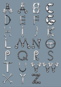 Shapes ai car parts alphabet Sign Fonts, Hand Lettering Fonts, Lettering Tutorial, Mechanic Tattoo, Nature Letters, Car Part Art, Motorbike Parts, School Murals, Tattoo Ideas