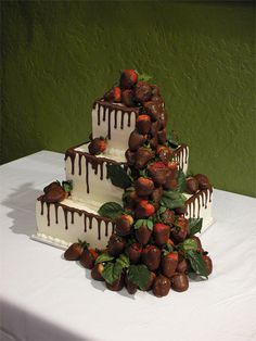 Delicious groom's cake with strawberries - I think it'd be great as an unconventional wedding cake too