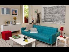 Como decorar a sala com móveis coloridos